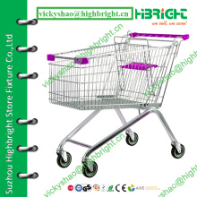 supermarket metal shopping cart,4 wheel shopping trolley,4 wheeled shopping trolley