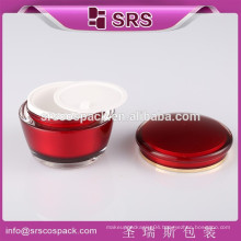 SRS wholesale China supplier plastic drum shape mask container, 15g 30g 50g acrylic beauty cosmetics cream empty jar