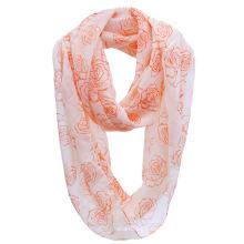 Mädchen Mode Rose gedruckt Polyester Chiffon Infinity Spring Schal (YKY1109)