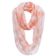 Girls Fashion Rose Printed Polyester Chiffon Infinity Spring Scarf (YKY1109)