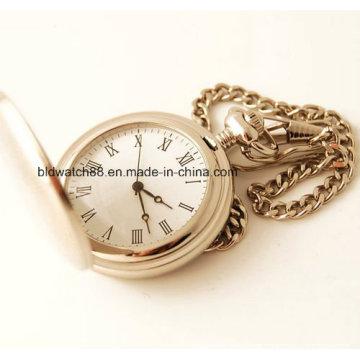 Relógio de bolso de prata clássico para homens de aço inoxidável