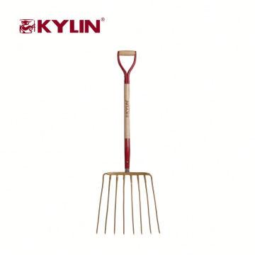 A mão relativa à promoção do jardim utiliza ferramentas o punho de madeira da cinza rígida da forquilha do aço carbono