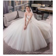 ОЕМ 2017 элегантный с плеча Белый Принцесса тюль кружева бальное платье свадебное платье под 100