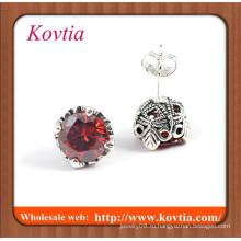 Персонализированные серебряные серьги из серебра с рубинами