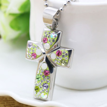 Stainless steel cross pendant with colorful crystal
