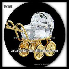 K9 3D chapado en oro Crystal Baby Carriage