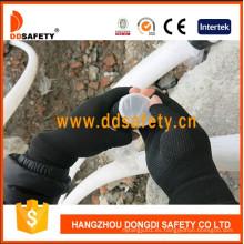 Guantes de punto de poliéster de nylon con medio dedo Dkp529