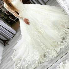 Vestido de novia de manga larga de satén nupcial de Winston