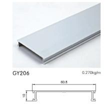 Perfil de armario de aluminio plateado anodizado