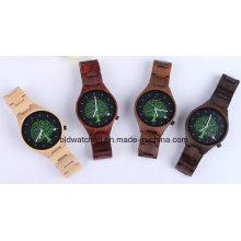 Montre en bois de dames de montres suisses de mouvement de montres en bois naturelles
