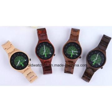 Relógio de madeira natural feito a mão dos relógios de pulso do movimento das senhoras de madeira das senhoras do relógio das mulheres