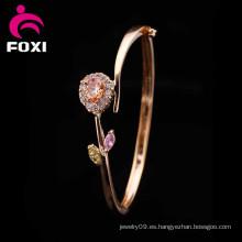 Diseño de la flor del corazón Brazaletes de la joyería del cobre del encanto de la manera