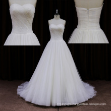 Sweep Train Tulle Court Train Ivory Wedding Dresses
