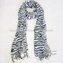 100% viscose animal print scarf