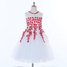 Weiß / Rot Blumenmädchen Kleid für Hochzeit und Zeremoniell