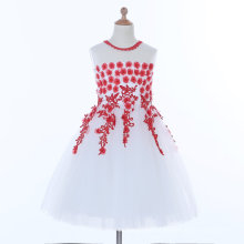 White/Red Flower Girl Dress for Wedding and Ceremonial