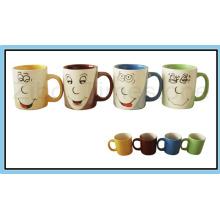 Tazas de café tricolores de la porcelana 9oz (CM612059)