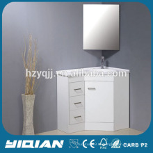 Угловой шкаф из смолы Зеркальный угловой шкаф Коммерческий белый лак MDF Угловой шкаф для ванной комнаты