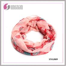 2015 Patrón de mariposa impreso Voile Fashion Infinity Scarf (SNSJ009)