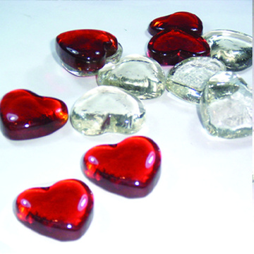 Färgglada Glass Nugget Heart glaspärlor för dekoration