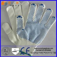 Gants de sécurité tricotés en coton pointillé pvc