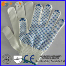 One side PVC dotted Natural knit PVC dotted gloves