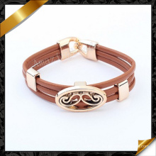 Brown Leather Jewelry, Alloy Beard Charms Leather Bracelets (FB092)