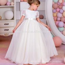 Шифон puff рукавом кружева галстук-бабочка Западная свадебная одежда ребенка платье принцессы