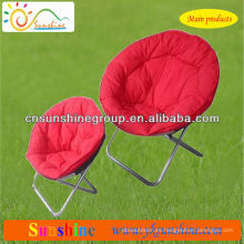 Folding round moon chair with padded seating