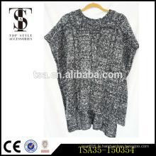 Célébration de fête motif sergé design poncho femme pull en tricot en gros