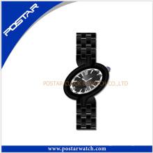 Reloj de cerámica de las señoras del reloj de las señoras del análogo de cerámica negro de la moda