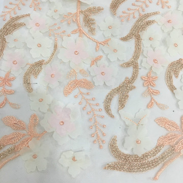 Graciosa Verão 3D Chiffon Flower Embroidery Fabric