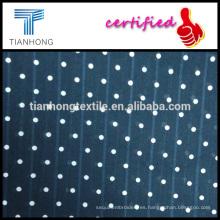 Fondo azul con polk-punto blanco a lo largo de 100 dobby del telar jacquar del algodón para el vestido de las mujeres