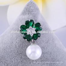 Bester Verkauf Attraktive Blumentuchbrosche mit Perle, preiswerte Perlenbrosche für Verkauf