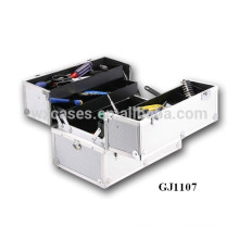 2014 strong aluminum tool box with 4 plastic trays&adjustable compartments on the case bottom