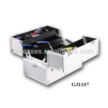 caixa de ferramentas de alumínio forte de 2014 com 4 bandejas plásticas & compartimentos ajustáveis na parte inferior caso