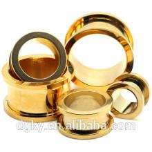 2016 nuevos túneles de flash de acero quirúrgico Pvd de oro brillantes Negro