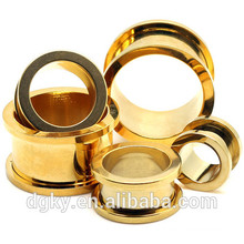 2016 new Pvd Gold surgical steel flash tunnels shining Black