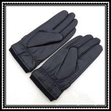 Gants en cuir à poignet élastique en tricot pour hommes avec agraffe