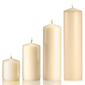 Long Burn Time Tall Unscented Ivory Pillar Candles