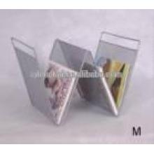 W forma com dobradiça escritório display arquivo revista metal livro rack