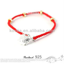 Cheap silver jewelry red braided rope bracelet for girls