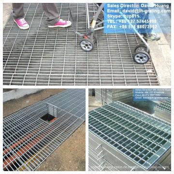 Verzinkte Stahlgitterplatten, verzinkte Stahlgitter-Bodenbeläge, verzinkte Grabenabdeckroste