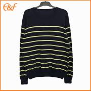 Fashion Pullover Crew-neck Black Striped Sweaters For Men