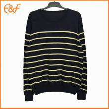 Fashion Pullover Crew-neck Black Striped Sweaters For Men