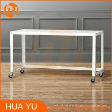 Table console d'établi roulante en métal blanc de meubles de bureau de Soho