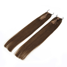 100% Remy Human Hair Double Drawn 4# 6# Brown Color Tied in Thread Knotted Virgin Hair Extensions