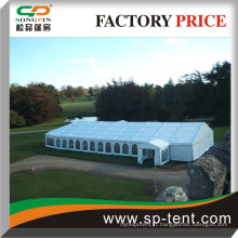 Tentes de conception spéciale extérieure 20x50m blanches composées de chapiteau Clearspan 20x40m et demi-tente de décongestionnement de 20m