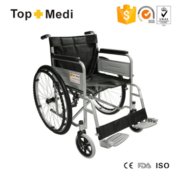 Silla de ruedas de acero plegable económica Topmedi para discapacitados