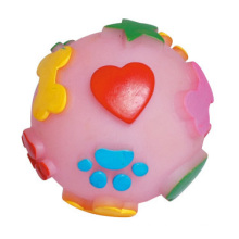 Dog Toy of Vinyl Ball with Printing Paws & Hearts for Dog